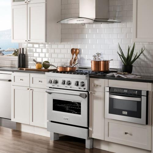 """Zline Kitchen and Bath - ZLINE 30"""" 4.0 cu. ft. Dual Fuel Range with Gas Stove and Electric Oven in DuraSnow® Stainless Steel with Color Door Options (RAS-SN-30) [Color: Red Gloss]"""