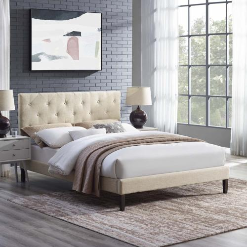 Tarah King Fabric Platform Bed with Squared Tapered Legs in Beige