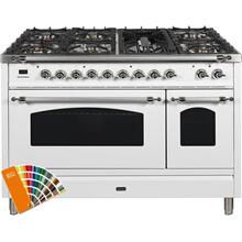 Nostalgie 48 Inch Dual Fuel Natural Gas Freestanding Range in Custom RAL Color with Chrome Trim