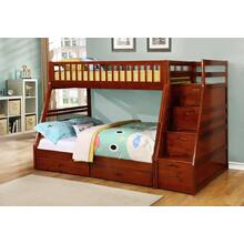 4474C  WALNUT TWIN/FULL BUNK BED WITH STORAGE STAIRECASE