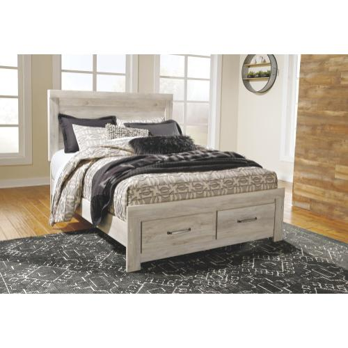 Queen Platform Bed With 2 Storage Drawers With Mirrored Dresser