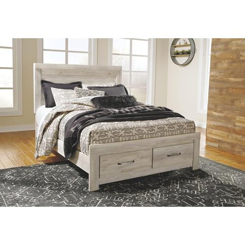 Queen Platform Bed With 2 Storage Drawers With Mirrored Dresser and Chest