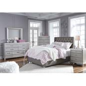 Queen Upholstered Bed With Mirrored Dresser and Chest