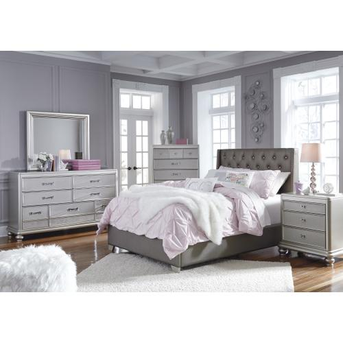 Ashley - Queen Upholstered Bed With Mirrored Dresser and Chest