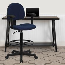 View Product - Navy Blue Patterned Fabric Drafting Chair with Adjustable Arms (Cylinders: 22.5''-27''H or 26''-30.5''H)