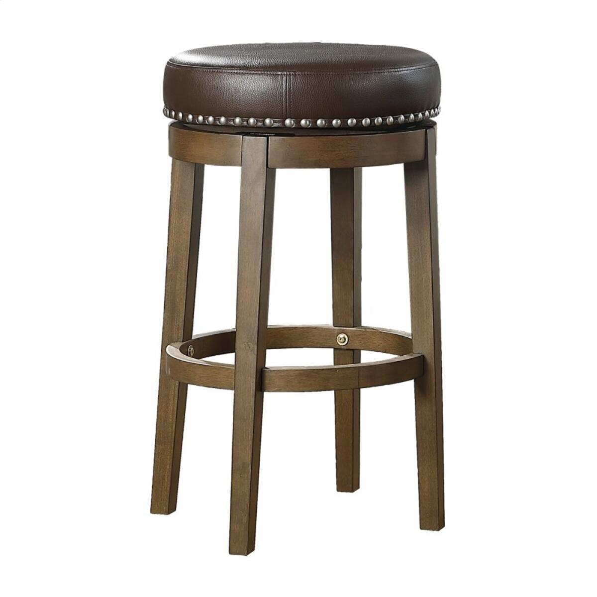 Round Swivel Pub Height Stool, Brown