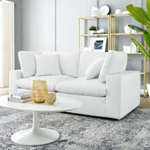 See Details - Commix Down Filled Overstuffed Vegan Leather Loveseat in White