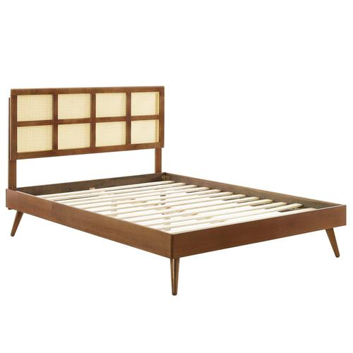 Sidney Cane and Wood Queen Platform Bed With Splayed Legs in Walnut