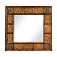See Details - Square walnut & burl oak mirror