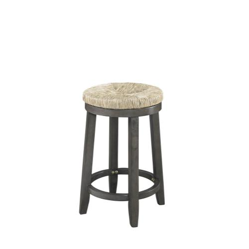 360-degree Swivel and Seagrass Seat Counter Stool, Grey