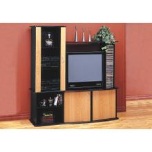 See Details - TV STAND - BLACK / MAPLE ENTERTAINMENT CENTER