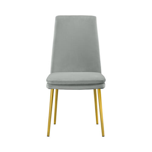 Modern Upholstered Dining Chair in Grey Velvet (2pc)