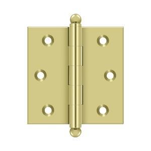 "Deltana - 2-1/2"" x 2-1/2"" Hinge, w/ Ball Tips - Polished Brass"