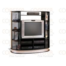 """See Details - ENTERTAIN CTR BLACK W/ SILVER ACCENT, FIT 36""""TV"""