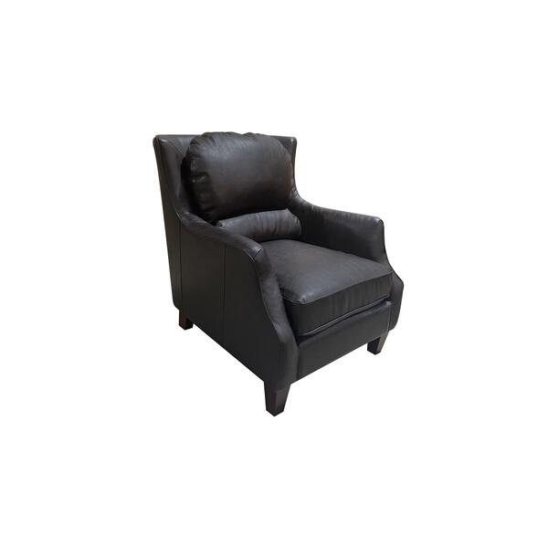 See Details - Garnett Black Leather-Look Accent Chair, ACL522