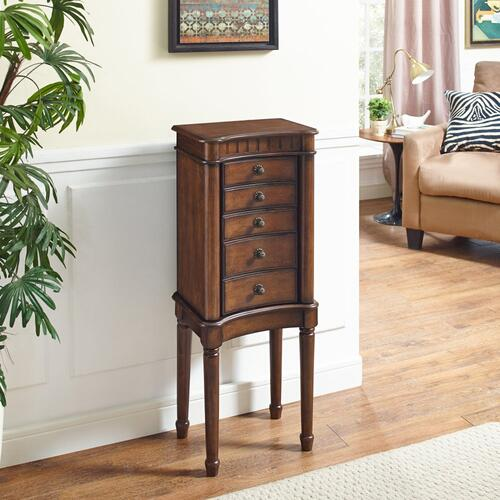 5-drawer and 2-side Door Jewelry Armoire, Walnut