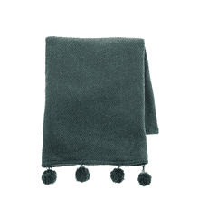 See Details - Green Woven Throw with Pom Poms
