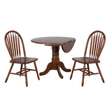 See Details - Round Drop Leaf Dining Set w/Arrowback Chairs (3 Piece)