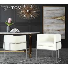 View Product - Giselle Cream Velvet Dining Chair - Silver Frame