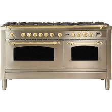Nostalgie 60 Inch Dual Fuel Natural Gas Freestanding Range in Stainless Steel with Brass Trim