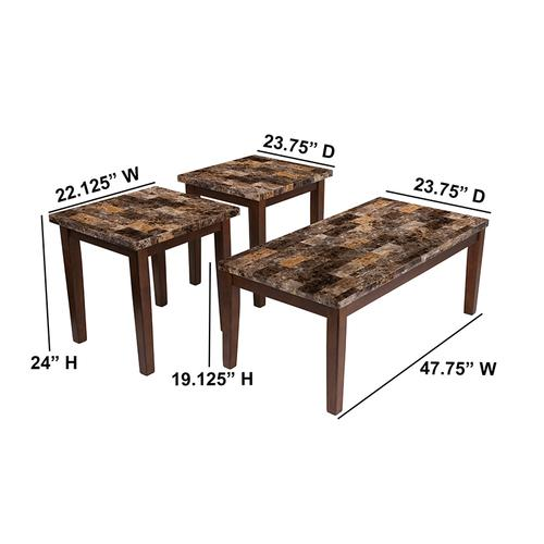 Signature Design by Ashley Theo 3 Piece Occasional Table Set [FSD-TS3-20MB-GG]