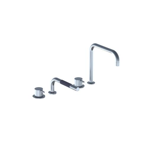 One-handle mixer 500 with ceramic disc technology, for table mounting with hand shower T1 - Bright red