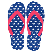 "Women's ""Beach Time"" Whale Flip Flops MD (1 pair)"