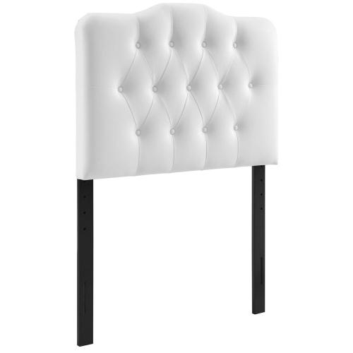 Annabel Twin Upholstered Vinyl Headboard in White
