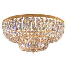 6 Light Clear Spectra Brass Ceiling Mount