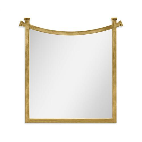 Gilded iron mirror with curved top
