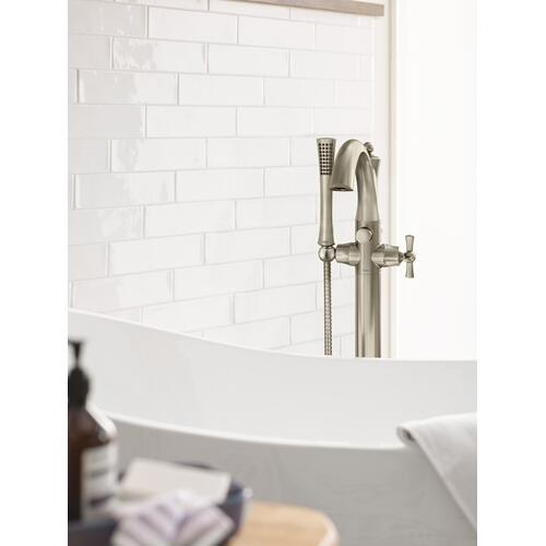 Wynford Polished nickel one-handle tub filler includes hand shower
