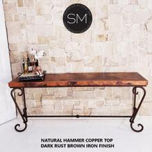 See Details - Long Console Table Gigantic Rectangle Hammer Copper Top w/ Rust Brown Base - 1216C
