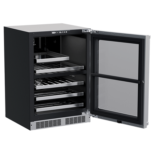 Marvel - 24-In Professional Built-In Dual Zone Wine And Beverage Center with Door Style - Stainless Steel Frame Glass