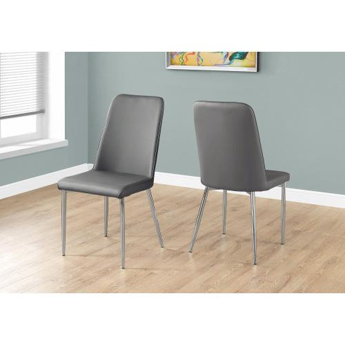 """DINING CHAIR - 2PCS / 37""""H / GREY LEATHER-LOOK / CHROME"""