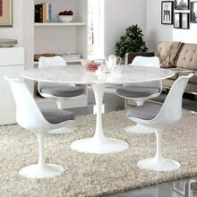 "Lippa 60"" Round Artificial Marble Dining Table in White"