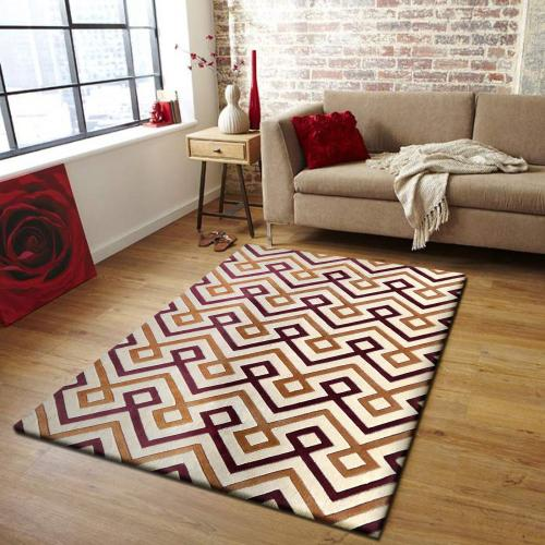 Durable Hand Tufted Transition TF31 Area Rug by Rug Factory Plus - 5' x 7' / Brown