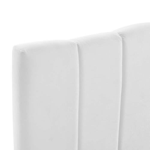 Camilla Channel Tufted King/California King Performance Velvet Headboard in White