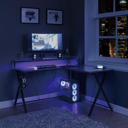 Checkpoint Battlestation L Shaped Gaming Desk Rgb LED Lights