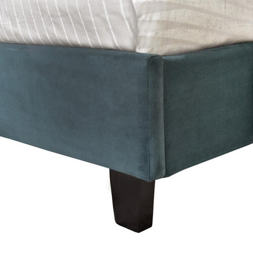 Nailhead Marquee Upholstered Twin Bed in Jasper Blue