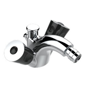 Single hole bidet faucet, integral diverter for vertical spray with drain