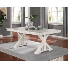 See Details - Florina Antique White Wood Trestle Dining Table