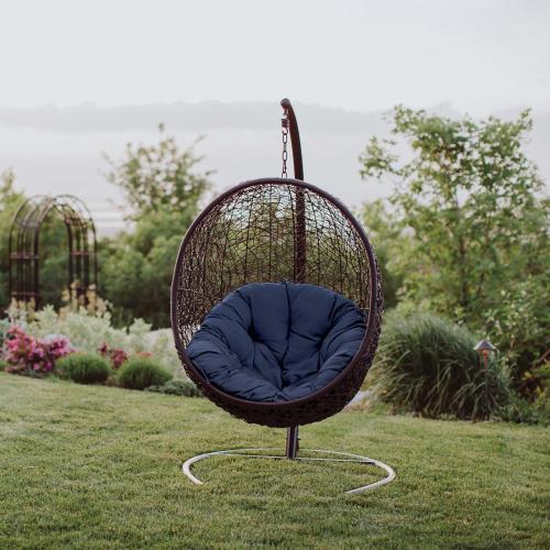 Encase Swing Outdoor Patio Lounge Chair in Navy