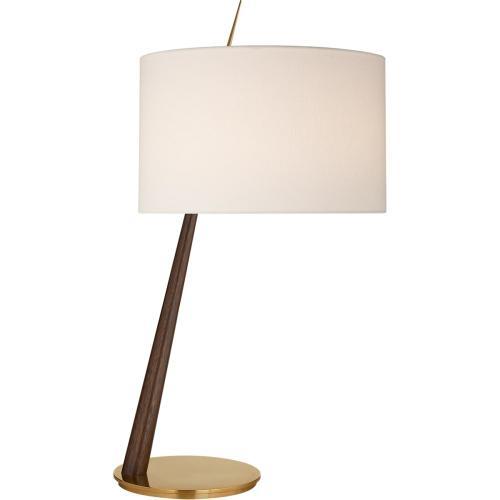 Visual Comfort BBL3090DW/SB-L Barbara Barry Stylus 33 inch 75 watt Dark Walnut Table Lamp Portable Light in Soft Brass, Large Angled