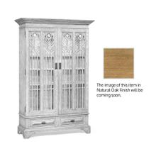 Natural oak gothic display cabinet