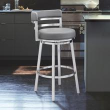 "Madrid Contemporary 26"" Counter Height Barstool in Brushed Stainless Steel Finish and Grey Faux Leather"