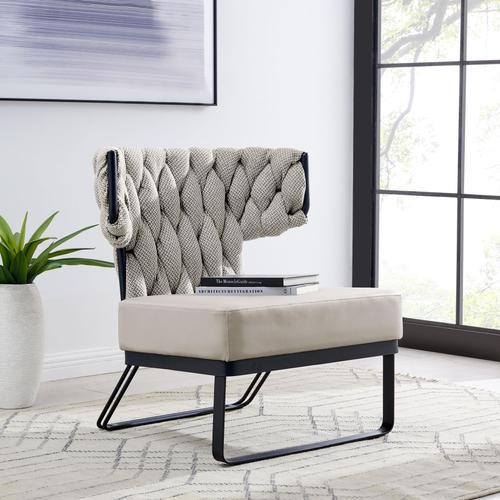 Leander KD Fabric/PU Accent Chair, Alpine Light Gray/ Fairfax Gray