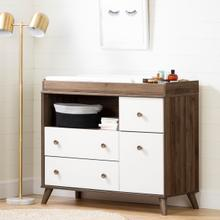 Yodi - Changing Table with Drawers, Natural Walnut and White
