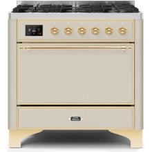 See Details - Majestic II 36 Inch Dual Fuel Natural Gas Freestanding Range in Antique White with Brass Trim