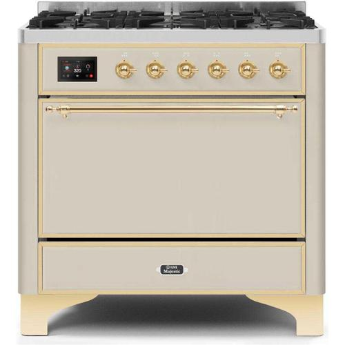 Gallery - Majestic II 36 Inch Dual Fuel Natural Gas Freestanding Range in Antique White with Brass Trim