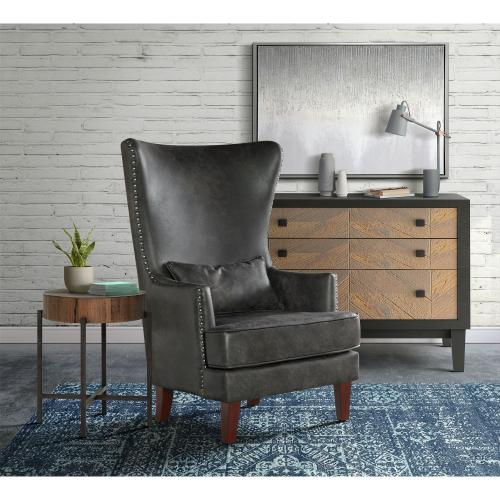 Kori Chair with Chrome Nails In Sierra Charcoal
